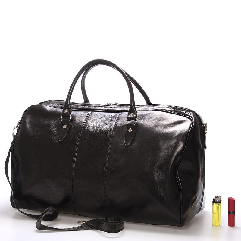 fbb6bfb006675 Veľká cestovná kožená taška čierna ItalY - Ella - Kabea.cz
