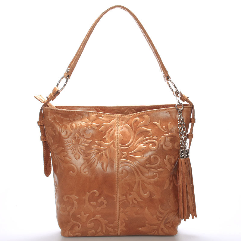 Dámska kožená kabelka cez rameno camel - ItalY Heather - Kabea.cz db691aa3a45