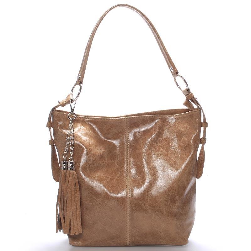 4acc430568 Hnedá lesklá kožená kabelka cez rameno ItalY Cameron - Kabea.cz