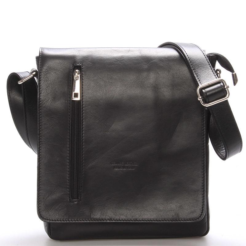 4bac79a66b2d8 Módna väčšia čierna kožená kabelka cez rameno - ItalY Quenton - Kabea.cz