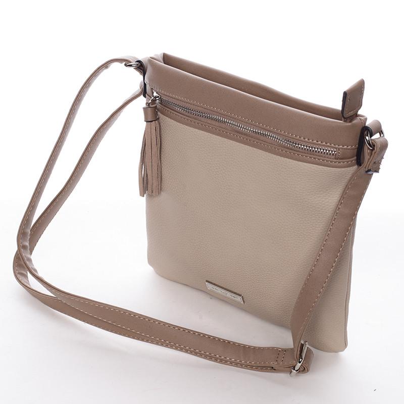 b86db75c9c ... Moderná dámska crossbody kabelka béžová - David Jones azurínom  zosieťovaného