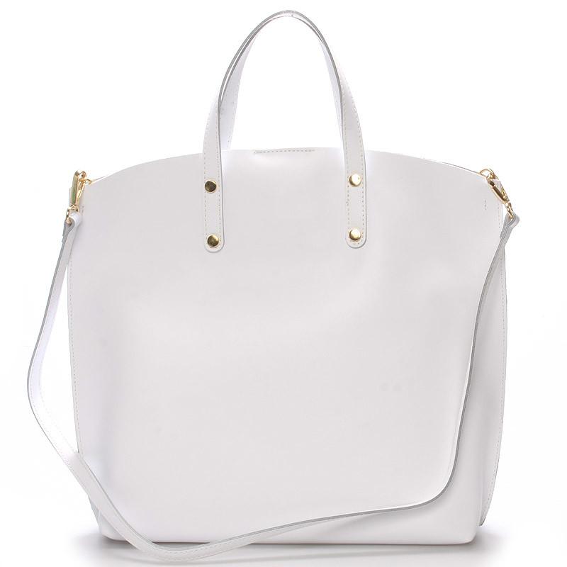 439539113e Biela kožená kabelka do ruky - ItalY Sydney - Kabea.cz