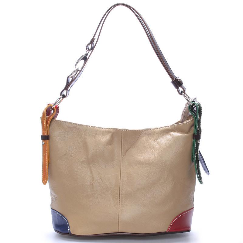 76c35785fe Béžová kožená kabelka cez plece crossbody ItalY Harmony - Kabea.cz