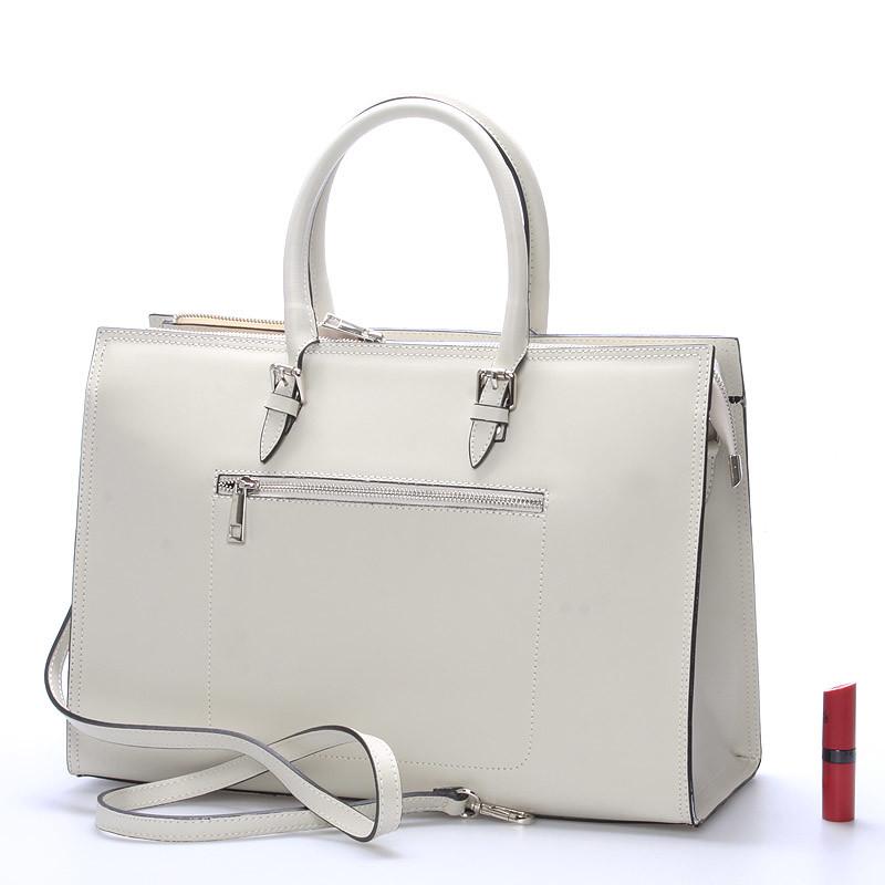 Elegantná dámska kožená kabelka krémová - ItalY Rohais - Kabea.cz b8c6e3bfbc1