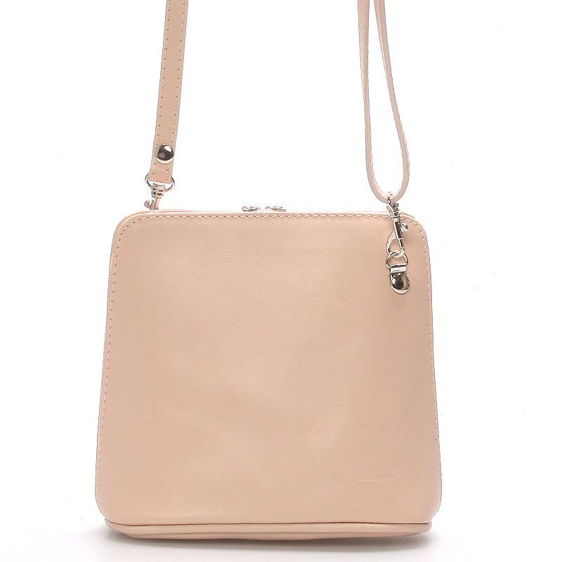 57078f0b7 Ružová dámska kožená kabelka crossbody 10053 - Kabea.cz