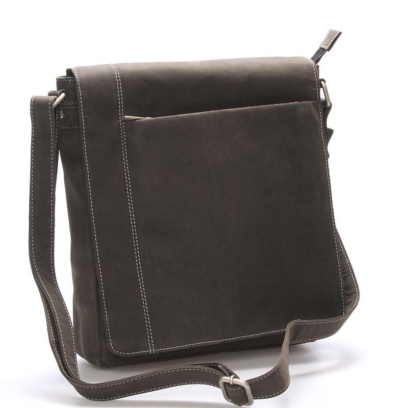 f474db4d6 Moderná pánska stredne veľká kožená taška čierna Stephan - Kabea.cz