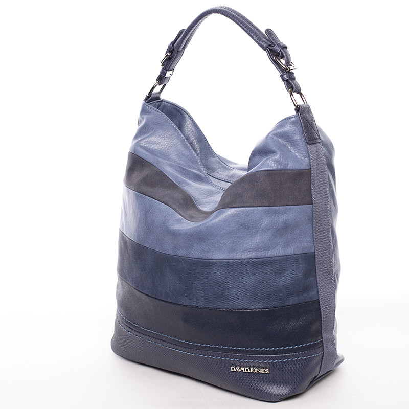 facaa29680 Módna veľká dámska kabelka cez plece modrá - David Jones Vardan ...