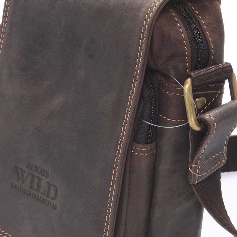 Malá pánska kožená taška tmavo hnedá - WILD Ethan - Kabea.cz 85708c875c4