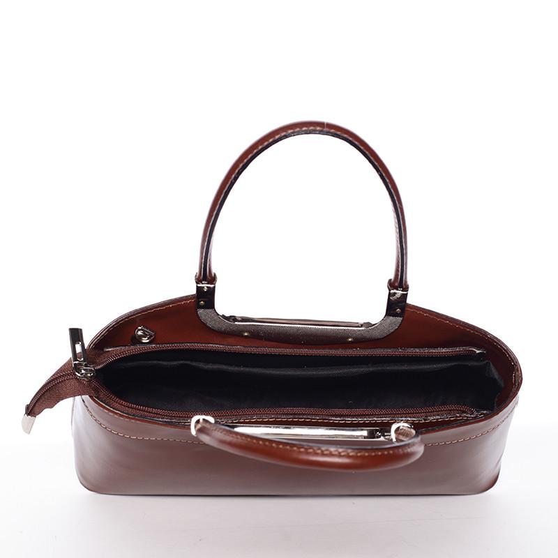 348f8b4938 Hnedá kožená kabelka do ruky ItalY Stefanie - Kabea.cz