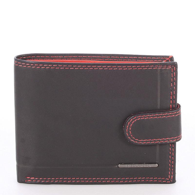16df2a9935 Pánska kožená peňaženka čierno červená - Bellugio Eurus - Kabea.cz