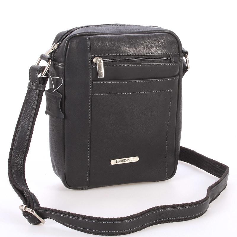 f0ee78b3ba Perfektná pánska čierna kožená taška - Sendi Design Halir - Kabea.cz