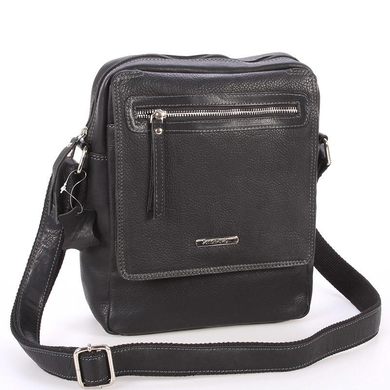 8c8f50ea28 Čierna kožená pánska taška cez rameno - Sendi Design Helio - Kabea.cz