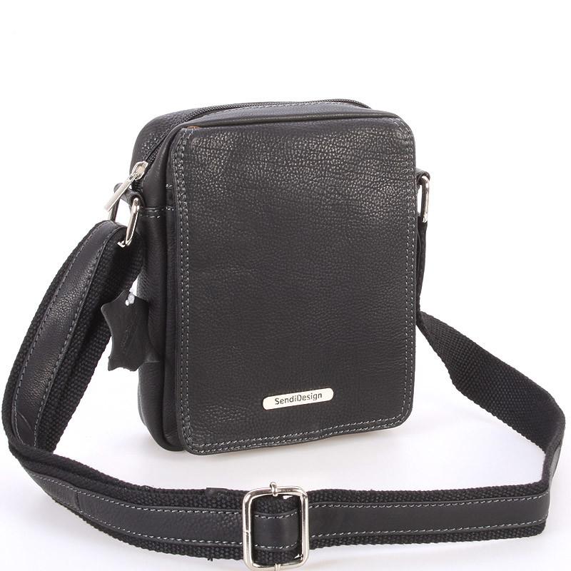 57759aa85e Menšia čierna pánska kožená taška - Sendi Design Merl - Kabea.cz