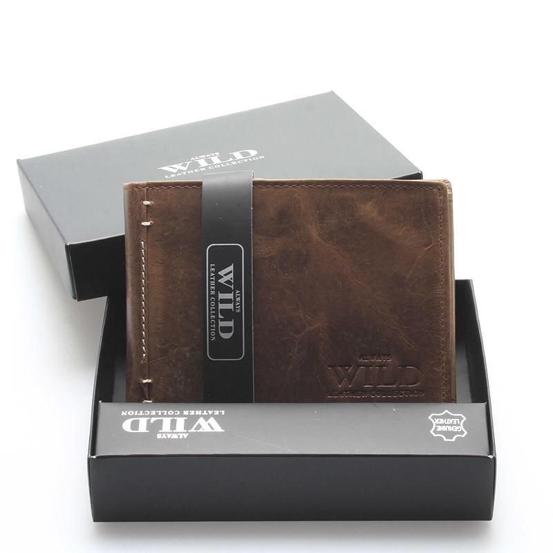 ca6fb3a1a Pánska kožená peňaženka s patinou hnedá - WILD Heller - Kabea.cz