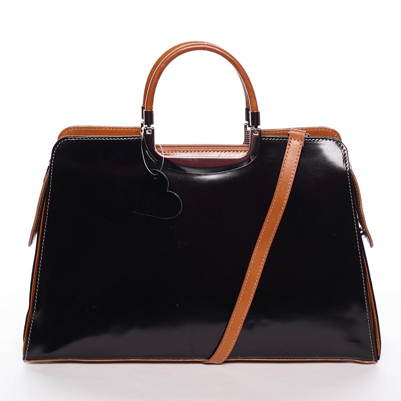 bb8c11b3fd Dámska väčšia čierno koňaková kožená spoločenská kabelka - ItalY Yanny ...