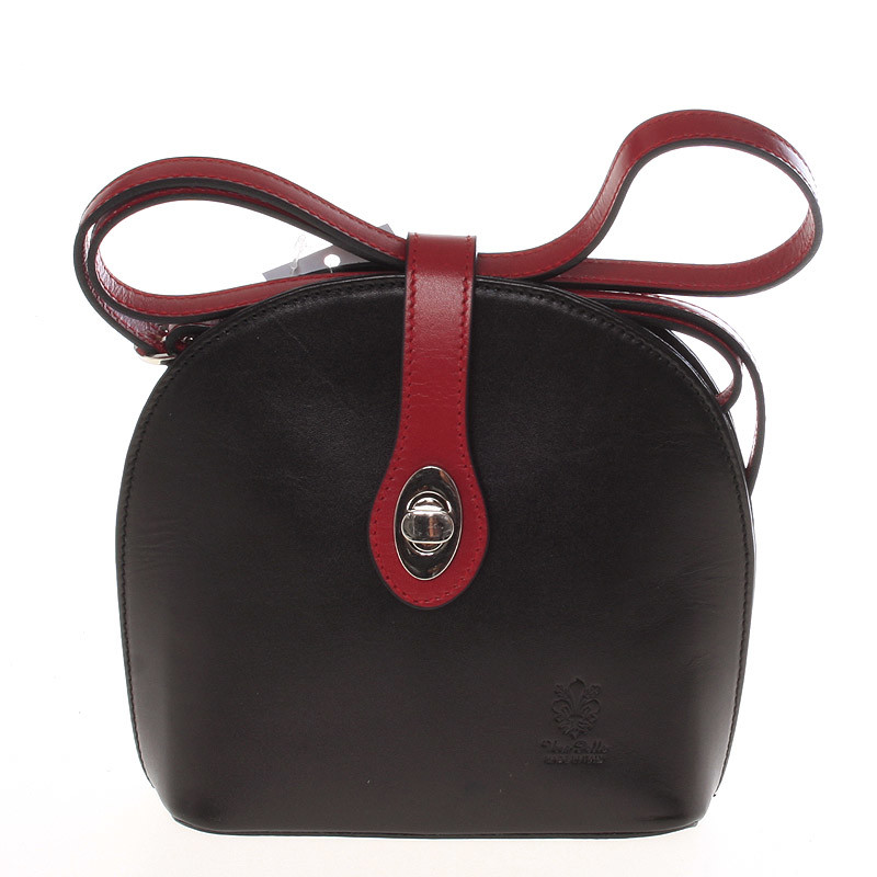 d4e4fb35aa Malá dámska čierno červená kožená crossbody kabelka - ItalY Zerena ...