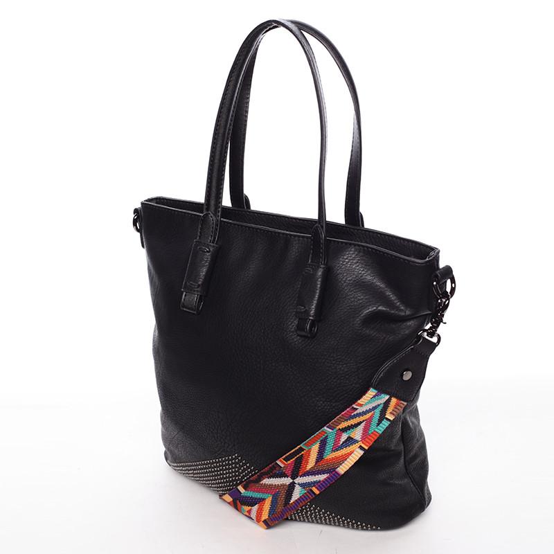 5e472766a50c ... Luxusne štýlová dámska čierna kabelka cez plece - Maria C Eustacia ...