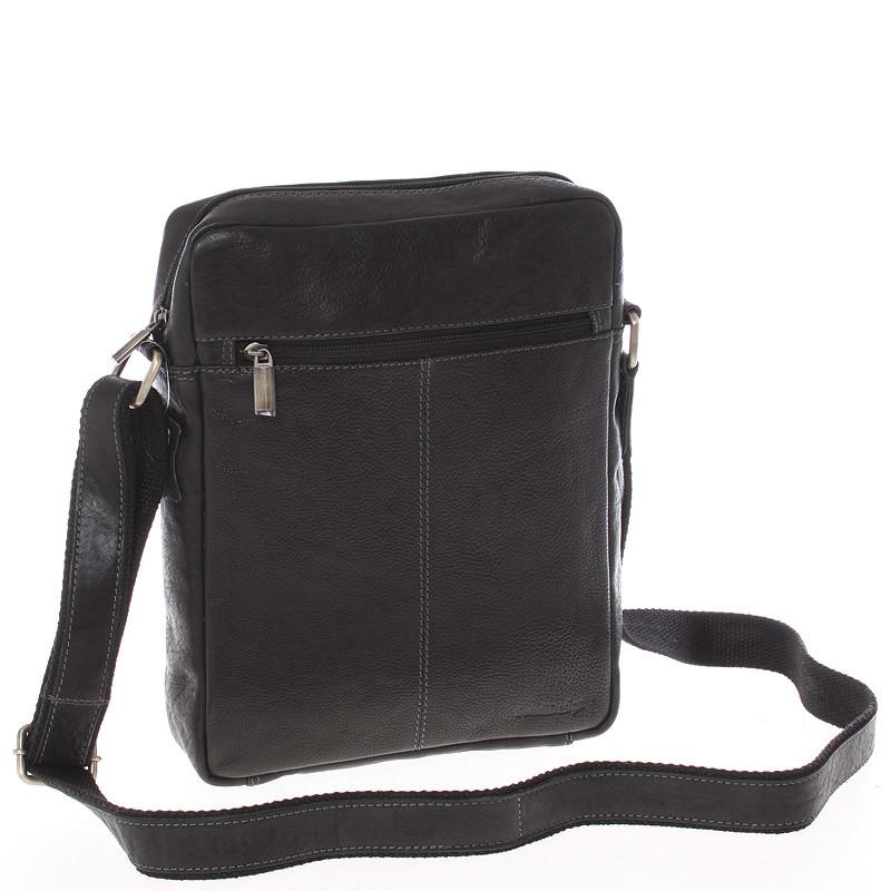 b9833f3f40 Elegantná pánska kožená taška cez rameno čierna - Sendi Design Turner ...