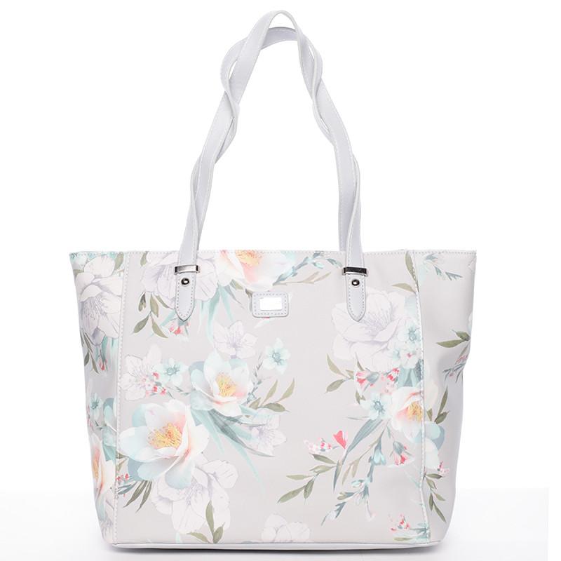 6e59b253f Moderná kvetinová kabelka cez rameno svetlo šedá - David Jones Kimora ...