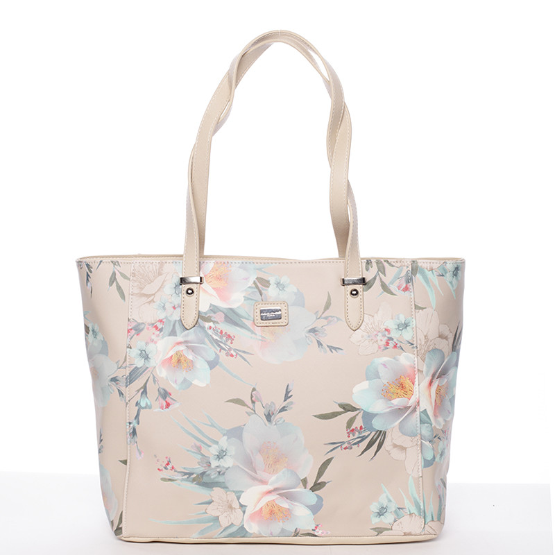 7d9e9868d Moderná kvetinová kabelka cez rameno béžová - David Jones Kimora ...