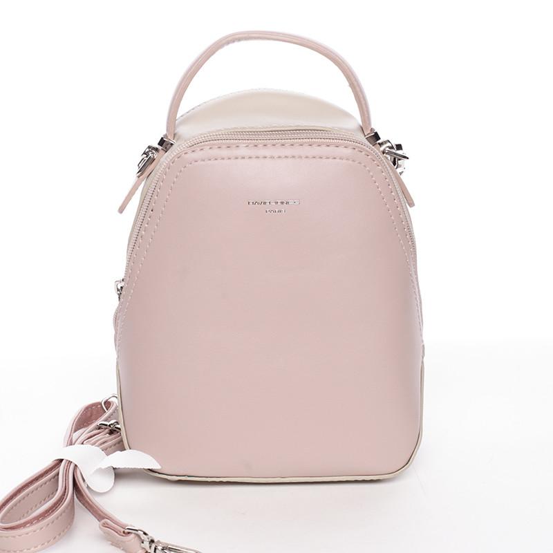 Malý dámsky mestský batoh kabelka bielo staroružovo bežový - David Jones  Lefteris ... 6b41f62ebee