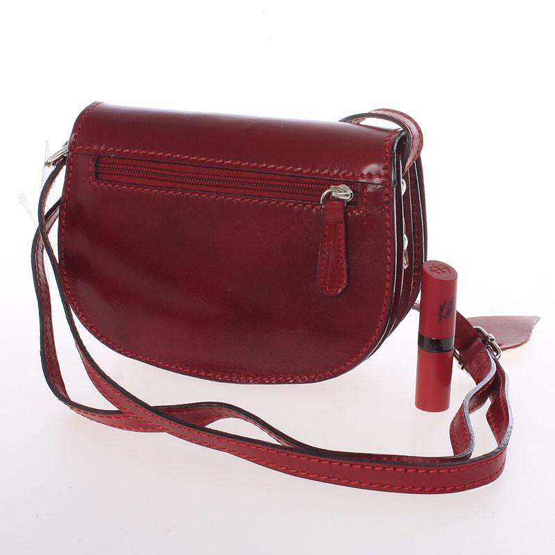 Malá červená hladká crossbody kožená kabelka - Italo EmZoya - Kabea.cz e488bbb0239