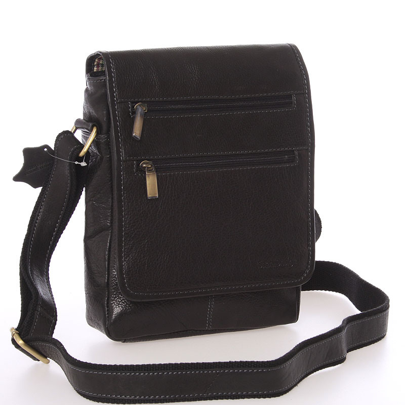 Módna pánska kožená taška cez rameno čierna - SendiDesign Lycaon ... 947cb34eded