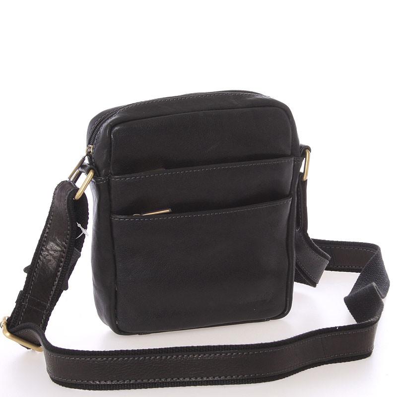 Módna pánska kožená taška na doklady cez rameno čierna - SendiDesign Lamar  ... 20426b756d8