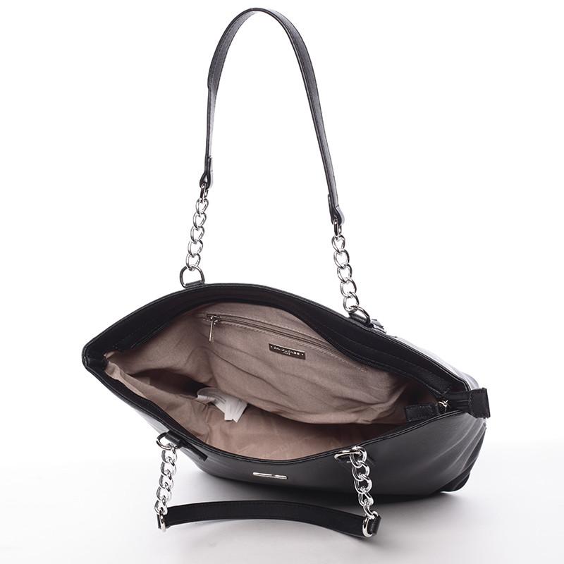 Elegantná saffianová čierna kabelka cez plece - David Jones Audrina ... 89aa498d661