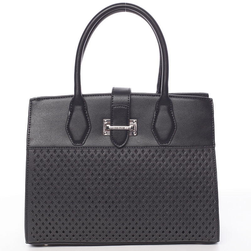 Luxusná a elegantná čierna perforovaná kabelka - David Jones Narella ... e5d2391a4ba
