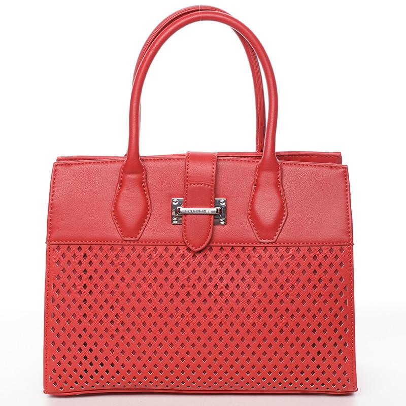 Luxusná a elegantná červená perforovaná kabelka - David Jones Narella ... e6db9b5a580