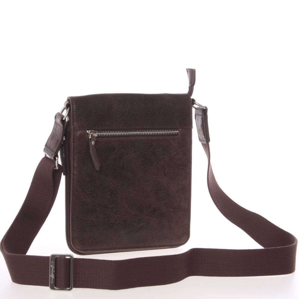 Štýlová pánska kožená taška na doklady hnedá - Gerard HENON Melesio ... 449a4b017af