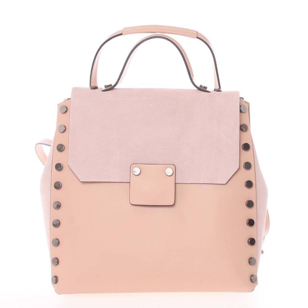 Unikátny svetloružový dámsky kožený batoh   kabelka - ItalY Nicoletta ... 95841699c7