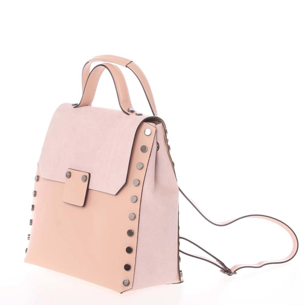 ... Unikátny svetloružový dámsky kožený batoh   kabelka - ItalY Nicoletta  ... f33669b785