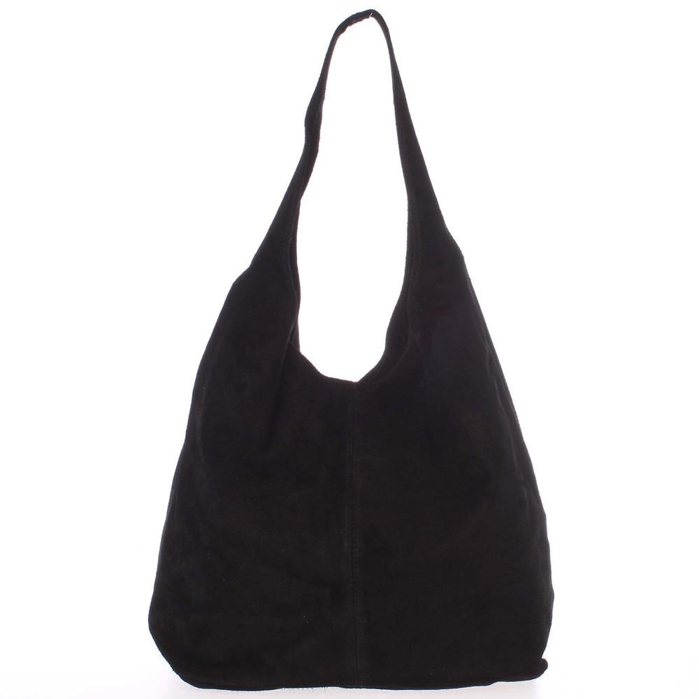 8d265bcef2 Veľká dámska kožená kabelka cez rameno čierna - ItalY Ocypete - Kabea.cz