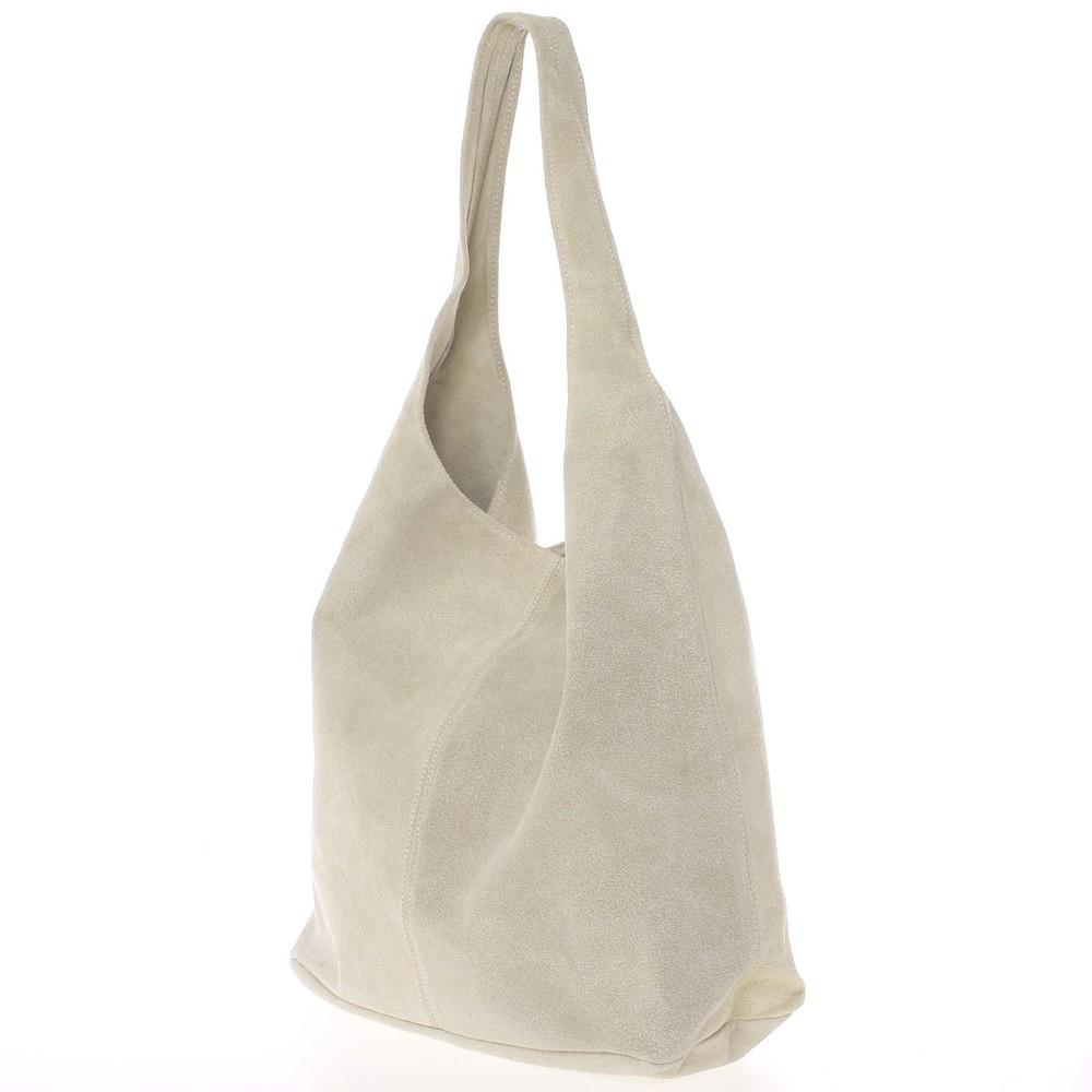 15bd355161 ... Veľká dámska kožená kabelka cez rameno svetlobéžová - ItalY Ocypete ...
