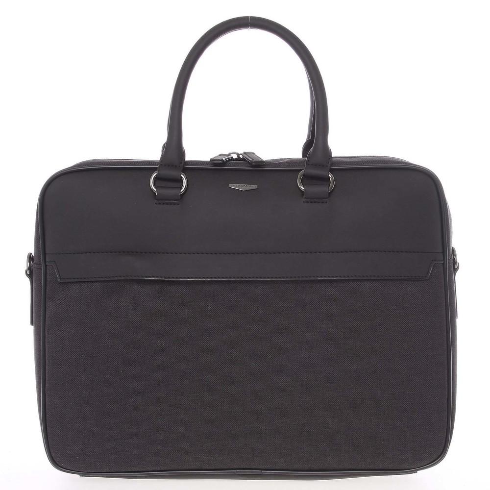 55e0b6e088 Polokožené šedo-čierna pánska taška na notebook a spisy - Hexagona Patros  ...