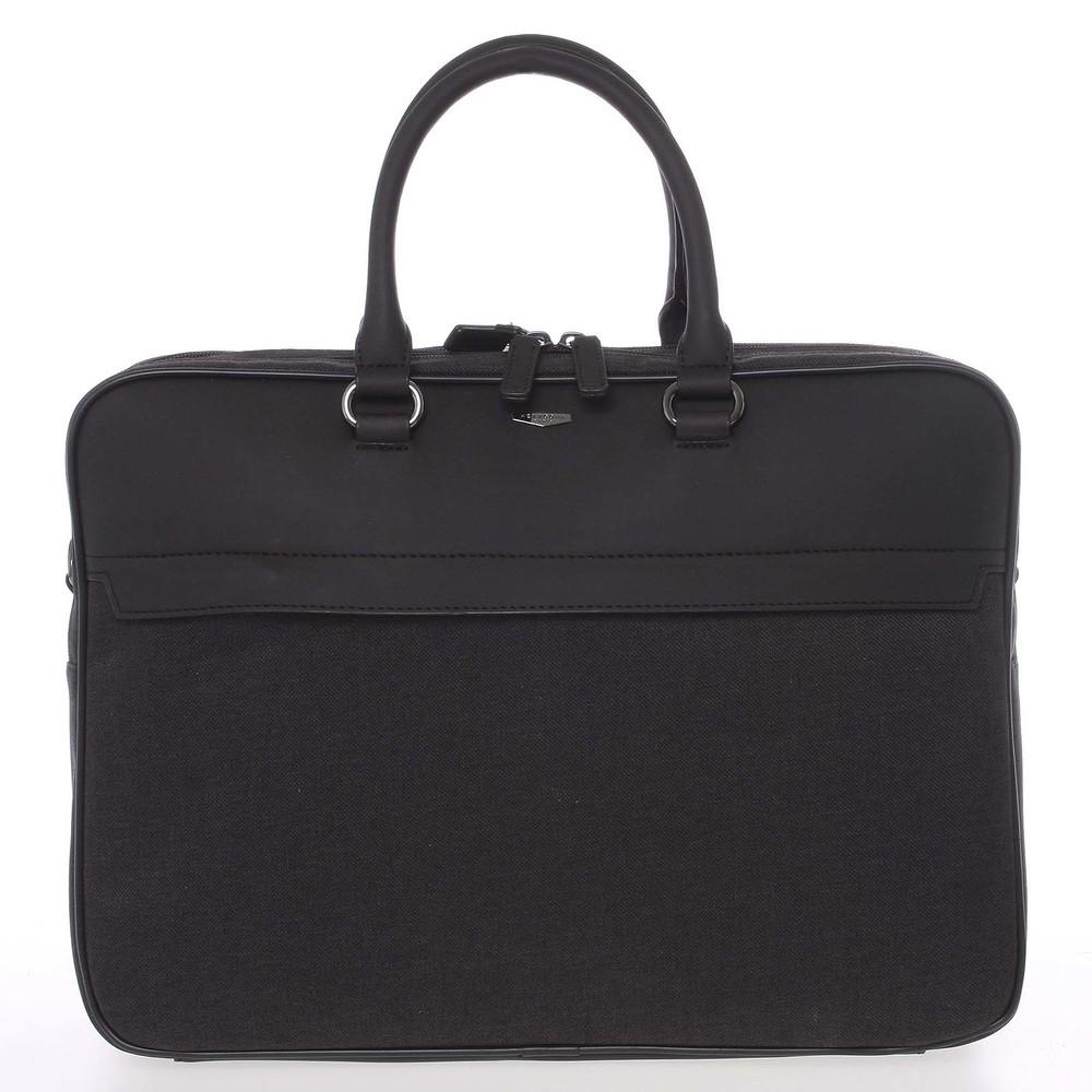 6002eded18 Polokožené šedo-čierna pánska taška na notebook a spisy - Hexagona  Patroclus ...