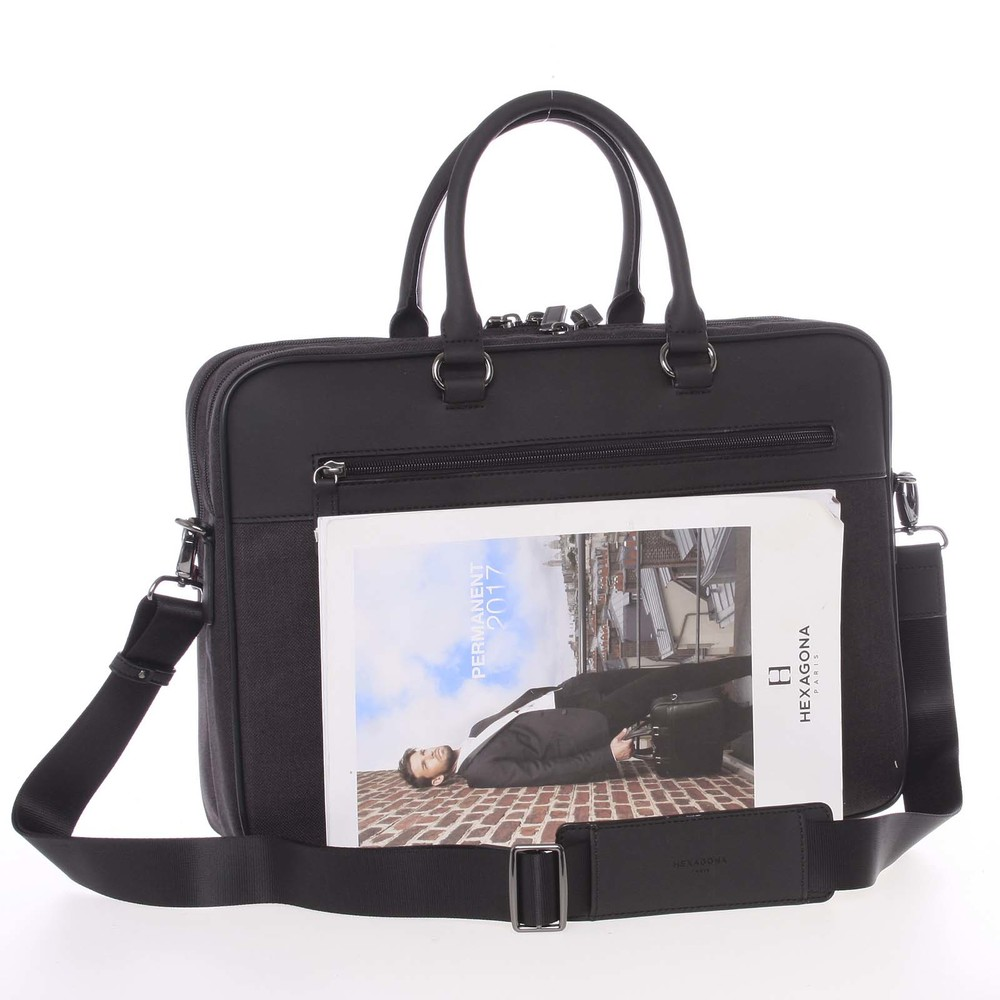28f5212973 ... Polokožené šedo-čierna pánska taška na notebook a spisy - Hexagona  Patroclus ...