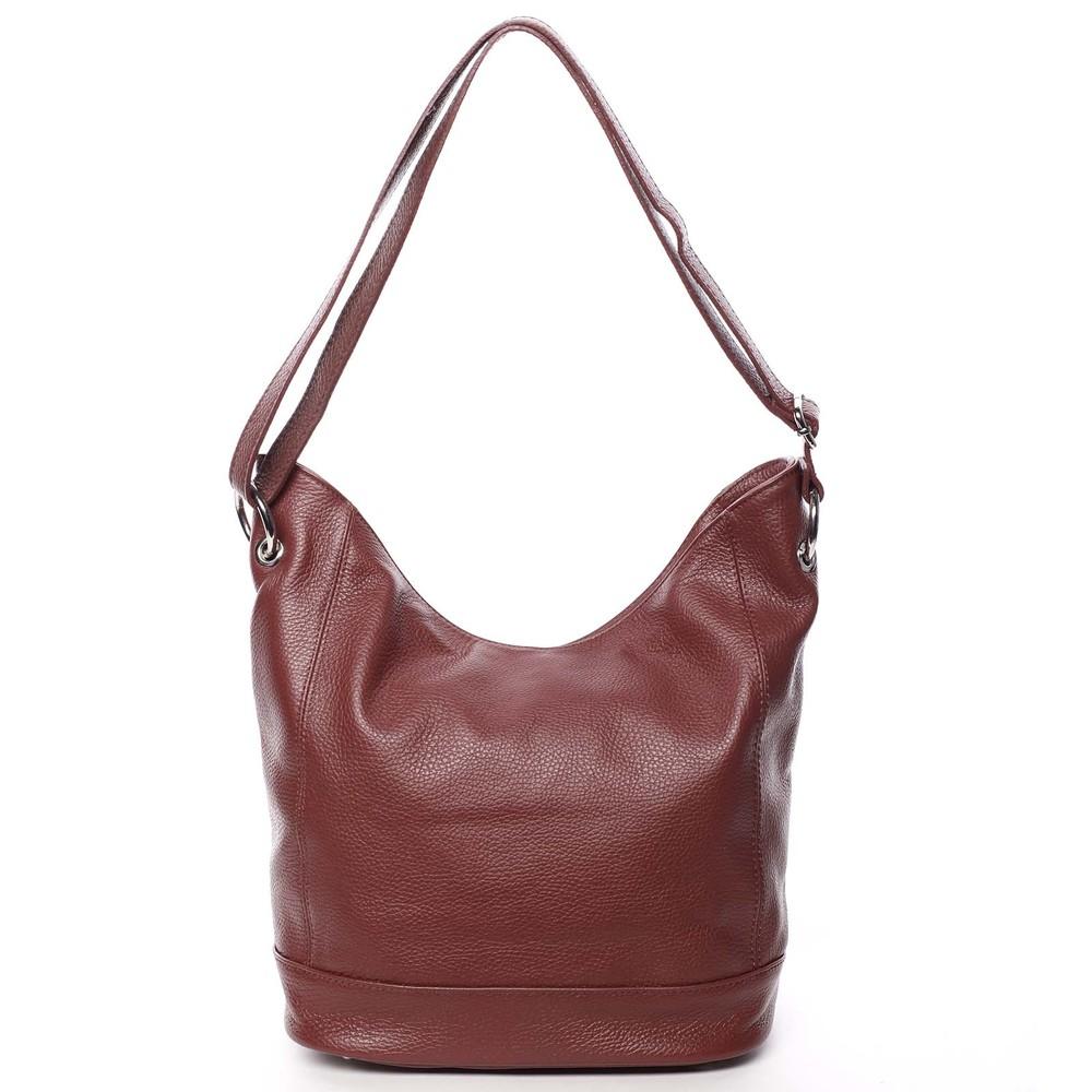 b289a1c9d231a Dámska kožená prešívaná kabelka cez rameno vínová - ItalY Achlys ...