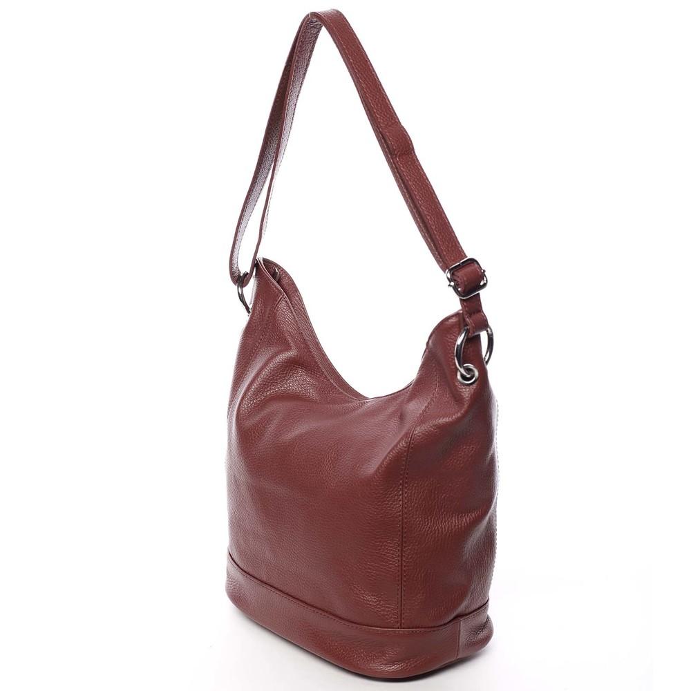 ... Dámska kožená prešívaná kabelka cez rameno vínová - ItalY Achlys ... 359c1ac8690