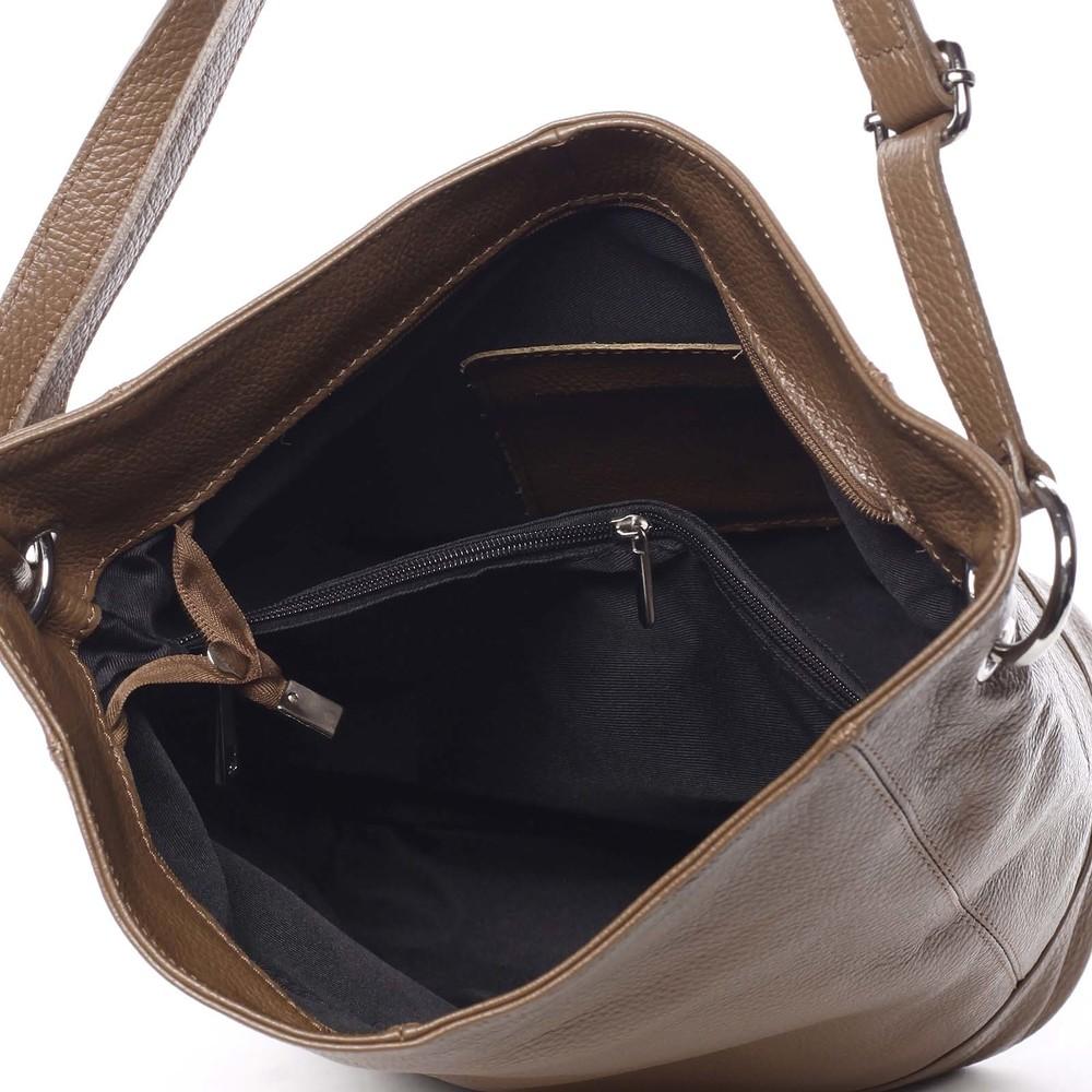 e1e8dc66df0b5 ... Dámska kožená prešívaná kabelka cez rameno hnedá - ItalY Achlys