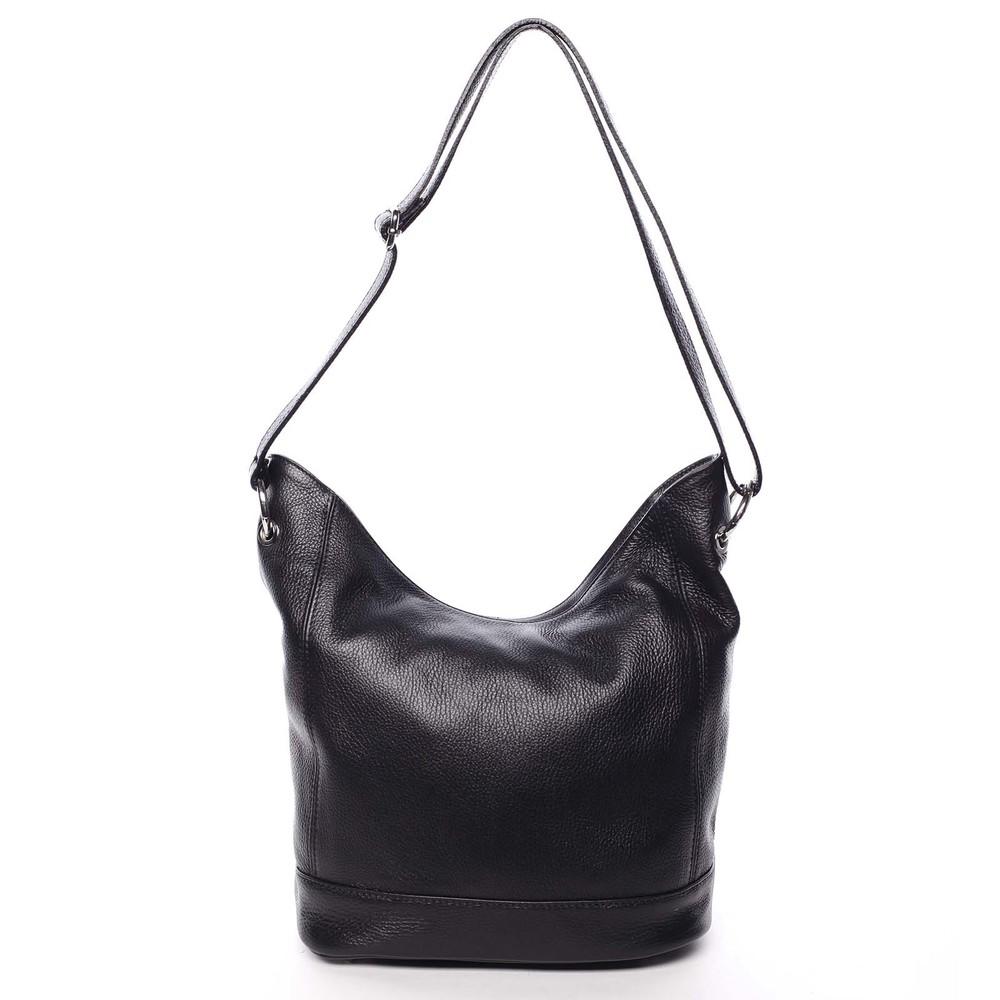 28dafb5b62d7d Dámska kožená prešívaná kabelka cez rameno čierna - ItalY Achlys ...