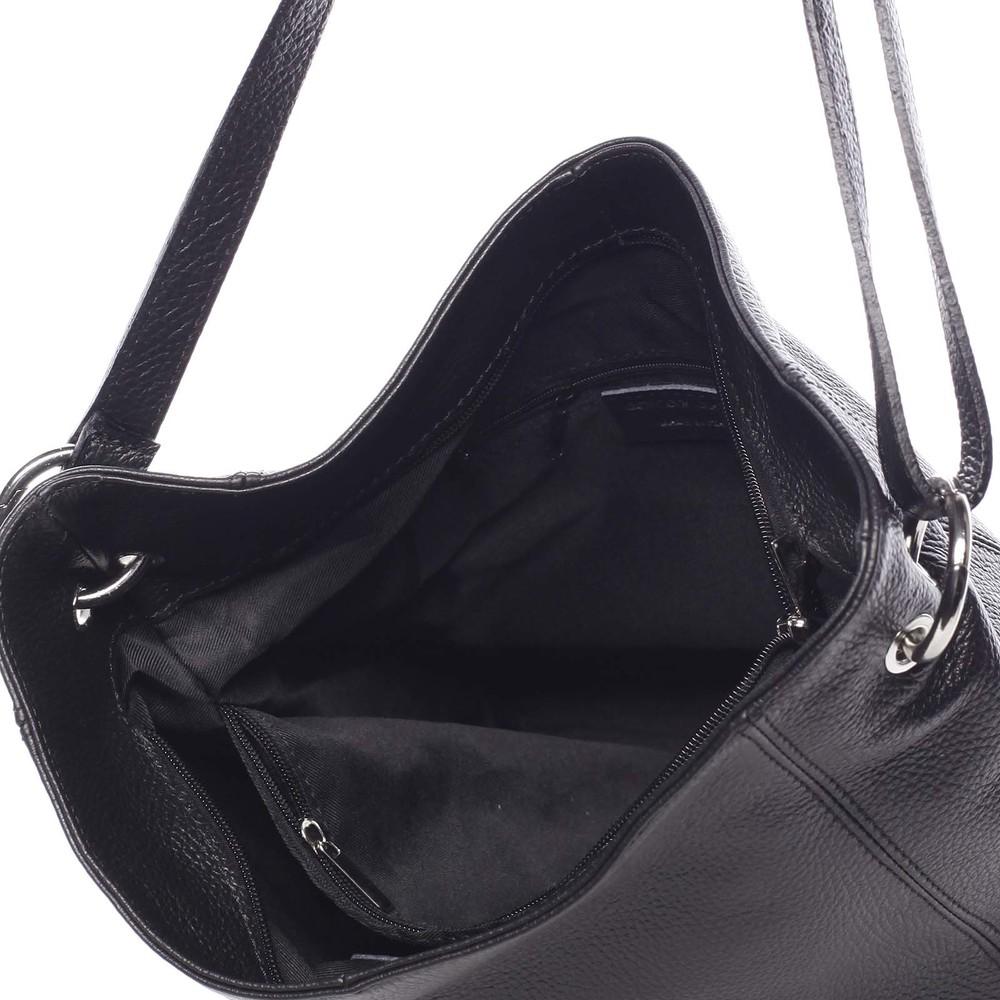 25a86c2622d51 ... Dámska kožená prešívaná kabelka cez rameno čierna - ItalY Achlys