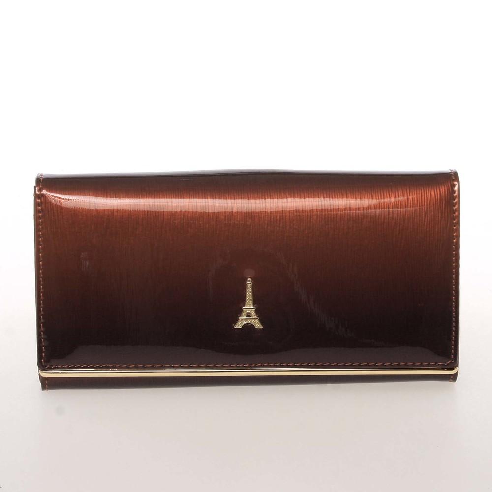c06ce4532d Jedinečná kožená lakovaná dámska peňaženka hnedá - PARIS 64003DSHK ...