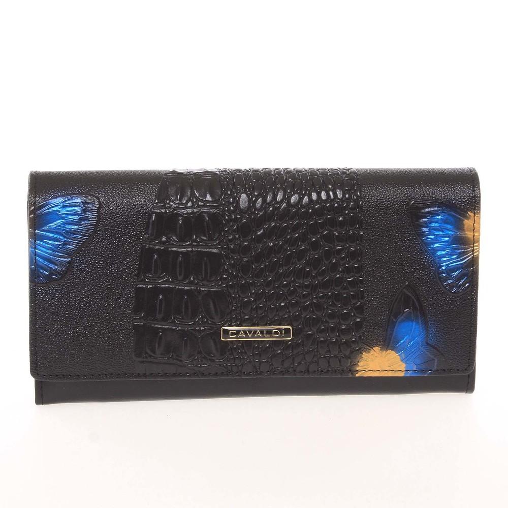 5f8e4ec04d39 Dámska polokožená modrá peňaženka so vzorom - Cavaldi PN22BFC - Kabea.cz