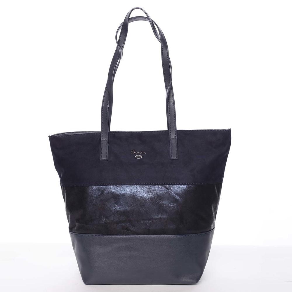 Jedinečná mäkká dámska tmavomodrá kabelka - David Jones Henriette ... 4b1ea712cf0