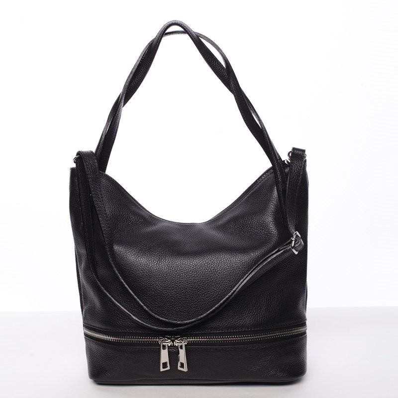 Dámska štýlová kožená kabelka cez rameno čierna - ItalY Acness ... bdc72dbefea