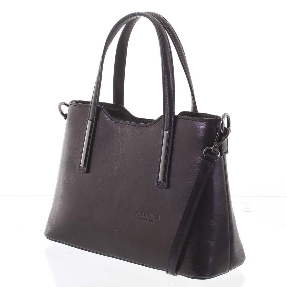 25a8e43fe1b8 Stredná pevná kožená kabelka čierna do ruky - ItalY Aello - Kabea.cz