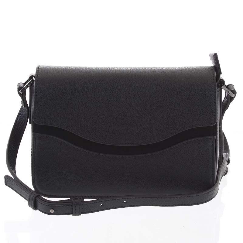 Elegantná dámska kožená čierna crossbody kabelka - Hexagona Zsofia ... a63dc60bffb